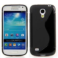 Samsung Galaxy S4 mini i9195 TPU Silikon Case Hülle Schutz S-Line Schwarz +Folie