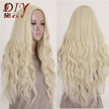 Fashion Women Curly Light Blonde Cosplay Party Sexy Lady Wavy Full Long Hair Wig