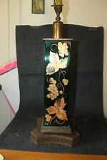 VINTAGE MID CENTURY MODERN RARE GREEN GLASS LAMP W/ GOLD PAINTED GRAPES LEAVES