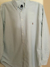 NEW RALPH LAUREN BUTTON LS SHIRT GREEN/WHITE STRIPE BROADCLOTH  3XB 3XL BIG