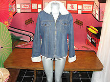 "WOMENS,STEVE & BARRY'S,BUST:42"",BLUE JEANS,DENIM,FAUX FUR,ZIP DOWN,JACKET,MEDIUM"