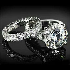 10ct Round Solitaire Engagement ring with Wedding band 925 Sterling Silver big