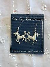 Sterling Creations Silver Unicorn Dangle Pierced Earrings