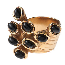 Yves Saint Laurent YSL Gold Arty Dots ring w/ Black