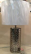 Moroccan Silver Chrome Cut Out Cylinder Base White Drum Shade Table Lamp NEW