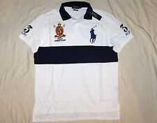 POLO RALPH LAUREN Custom Fit BIG PONY Mesh Polo Shirt, Crest, White, Navy, LARGE