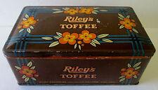 VINTAGE RILEYS TOFFEE TIN /CAN/BOX HALIFAX ENGLAND NICE DISPLAY TIN