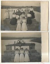 RPPC 2! LEBANON COUNTY PA Lock Union Canal? Schuylkill River? Real Photo PCs