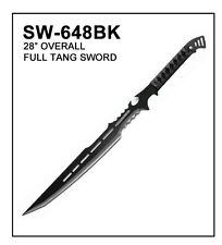 "BRAND NEW 28"" BLK Ninja Fantasy Full Tang Sword Machete Tactical Blade"