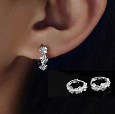 Women Silver Plated Crystal Rhinestone Flower Stud Earrings Hoop Fashion Jewelry