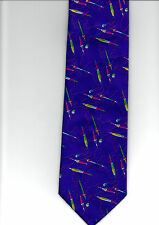 MOODYS NEW QUALITY 100% WOVEN SILK TIE PURPLE FISHING THEME FLOATS & LINES