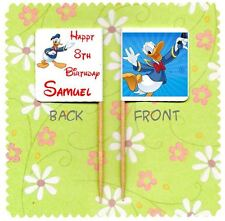 20 PERSONALISED DISNEY DONALD DUCK CUP CAKE FLAG Party Pick Topper Birthday