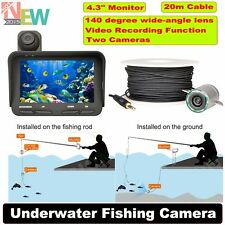 "20m 4.3"" Monitor Night Vision Ice Fish Finder Dual Camera DVR Video Underwater"