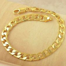 Cool Heavy14K Yellow Gold Filled Fashion Mens Wrist Cuban Link Chain Bracelet