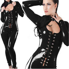 Woman PVC Leather Zipper Wetlook Jumpsuit Catsuit Open Bust Clubwear Lingerie