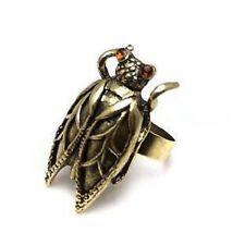 Vintage ajustable oro saltamontes / cicada charm tipo anillo