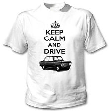POLISH  FIAT 125P INSPIRED KEEP CALM AND DRIVE P - WHITE COTTON TSHIRT