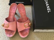 CHANEL PINK LEATHER MULES W/PLATFORM WOOD HEELS: Sz 37, Authentic, Original $375