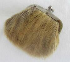 ANTIQUE VICTORIAN BROWN FUR & STEEL FRAMED SOVEREIGN COIN PURSE c1890