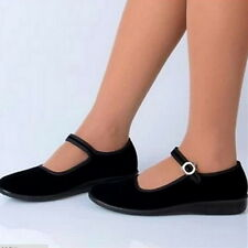 New Chinese Beijing Mary Jane Shoes Women Cotton Sole Black Ballet Shoes Size 39