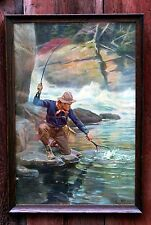 1914 Phillip R Goodwin Bristol Steel Rods Fly Fishing Calendar Lithograph Print