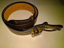 Leatherock Dark Brown Belt Size M Genuine Leather Brass Copper Buckle