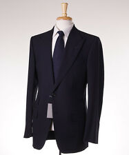NWT $4590 TOM FORD 'Fit A' Solid Navy Blue Peak Lapel Wool Suit US 42 L (Eu 52L)