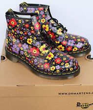 NEW WOMEN MEN DOC DR MARTENS BOOTS SHOES FLORAL FLOWERS BLACK RED YELLOW 9 8 7