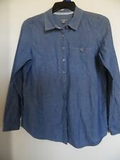 WOMEN J JILL -CHAMBRY  BLUE BUTTON DOWN LONG SLEEVE TOP SHIRT - SIZE -M