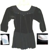 Ballet Tap Dance Ice Skating Dress black velour w black sheer skirt Girl L 10 12