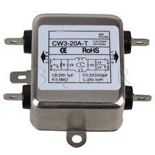 AC115~250V 20A Unipolar Silver and Black Solder Lug Power EMI Filter CW3-20A-T