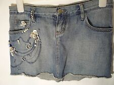 denim skirt size 27 or 8 UK Guess Jeans bejewelled mini skirt