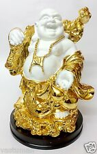 "Golden Big Buddha Happy Man Chinese FengShui Kuberar Statue Vastu 12"" - 30.48cm"