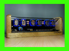 6xIN-12 Nixie Tubes Clock oak case & alarm steampunk vintage retro watch