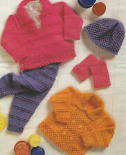 "Baby Knitting Pattern DK Jacket Sweater Hat Mitts Leggings 12-24"" 581"