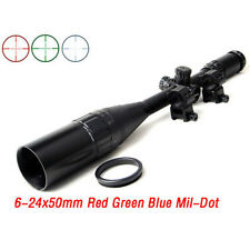 Stock Hunting 6-24x50AOL RGB Tactical Rifle Scope/Gun Scope with Mil-Dot Reticle