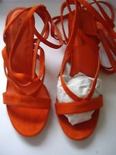 PUBLIC DESIRE ORANGE JULIA FAUX SUEDE STRAP LACE UP HEELS SANDAL SIZE UK 6 EUR39