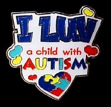 I Luv A Child with Autism  Lapel Pin Color Puzzle Piece Awareness Cap Tac New