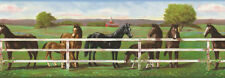 Horses Grazing at the Fence Sure Strip Wallpaper Border RU8242B