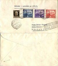 REGNO - 30c(249)Imperiale+Ferrovie(S.95)-Aerogramma Milano- Locarno 13.10.1940