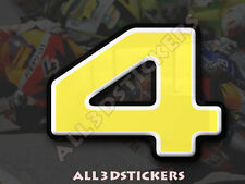 3D Stickers Resin Domed NUMBER 4 FOUR - Color Yellow - 50 mm(2 inches) Adhesive