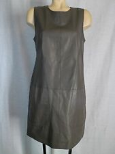 Vince Oak Brown Leather Pocketed Shift Mini Dress Sz 12 NWT Supple