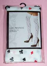 LEG AVENUE Opaque Poker Suit Print Thigh High Stockings Hearts Spades OSFM