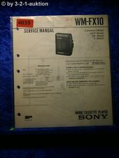 Sony Service Manual WM FX10 Cassette Player (#4035)