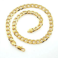 Classic mens 24k yellow solid gold GF chain necklace 23.6in Heavy Free shipping