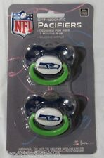 NFL NIB PACIFIER - SET OF 2 - SEATTLE SEAHAWKS - SOLID ON CARD