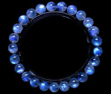 7mm Natural Moonstone Blue Light Transparent Beads Woman Bracelet AAAA