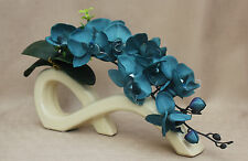 ARTIFICIAL SILK 2 STEMS TEAL MOTH ORCHIDS IN CREAM BOW VASE-WEDDING, TABLE DEC
