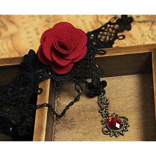New Lady Black Lace crystal Choker Victorian Gothic Sexy flower Necklace Pendant