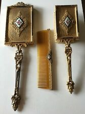 ANTIQUE VTG. VICTORIAN BRASS BRONZE FILIGREE GUILLOCHE ENAMEL DRESSER VANITY SET